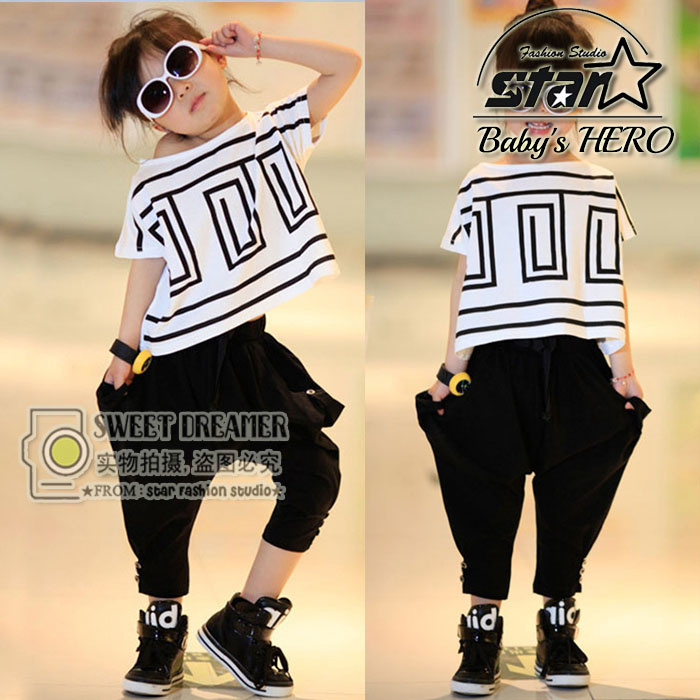 2017 New Girls Summer Clothes Outfits Boys Girls Short Sleeve T-shirt Top & Harem Pants 2 Pcs for Kids Girls Hip Hop Costume