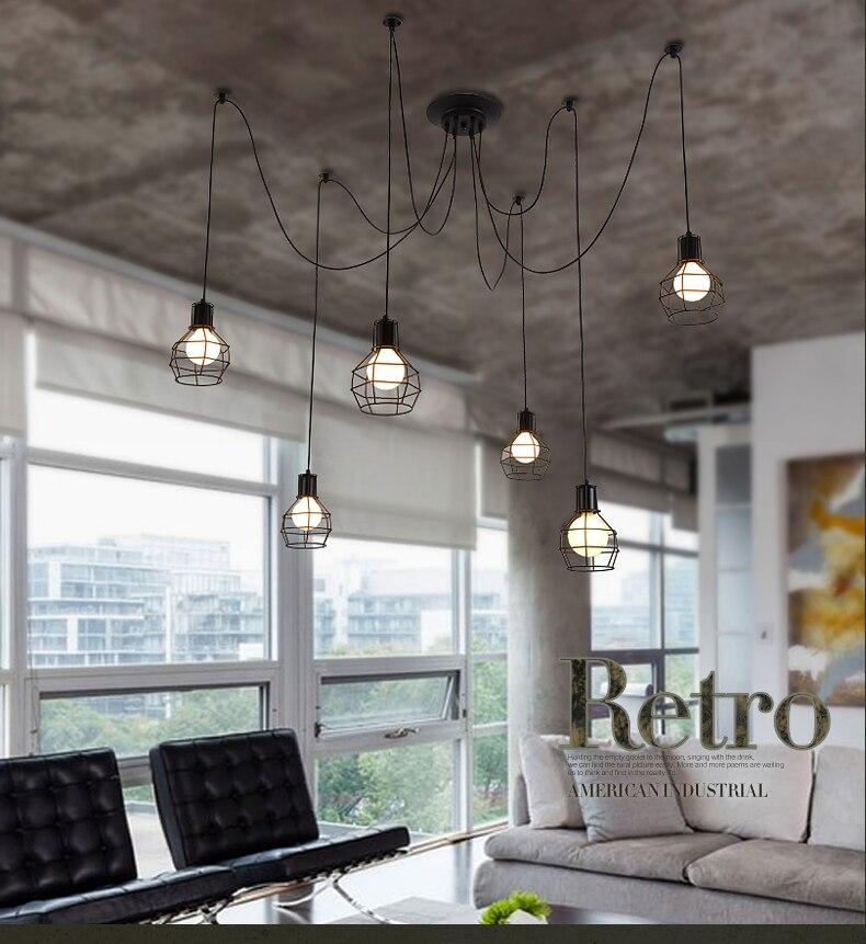 Pequeña jaula Luces colgantes personalidad Vintage Loft industrial - Iluminación interior - foto 5