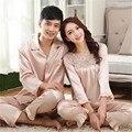 Seda Sleepwear conjuntos de pijama casais de cetim de seda de moda vestido de amante casal pijamas pijamas pijamas Loungewear