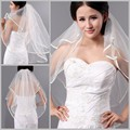 Hot Sale Cheap 2015 In Stock Two Layers Ribbon Edge Simple High Quality White Bridal Veils Wedding Veils Bridal Accessory