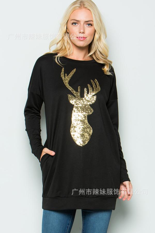 chic new hot sales Christmas deer cartoon full sleeve woman sweatshirt classical basis long pullover female hoodies thumbnail