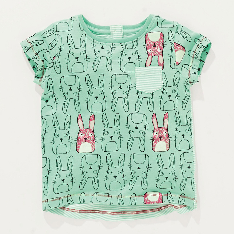 Little Maven New Summer Kids Clothing Short O-neck Green Rabbits Printed Tee Knitted Cotton Quality Girls Casual Tshirt