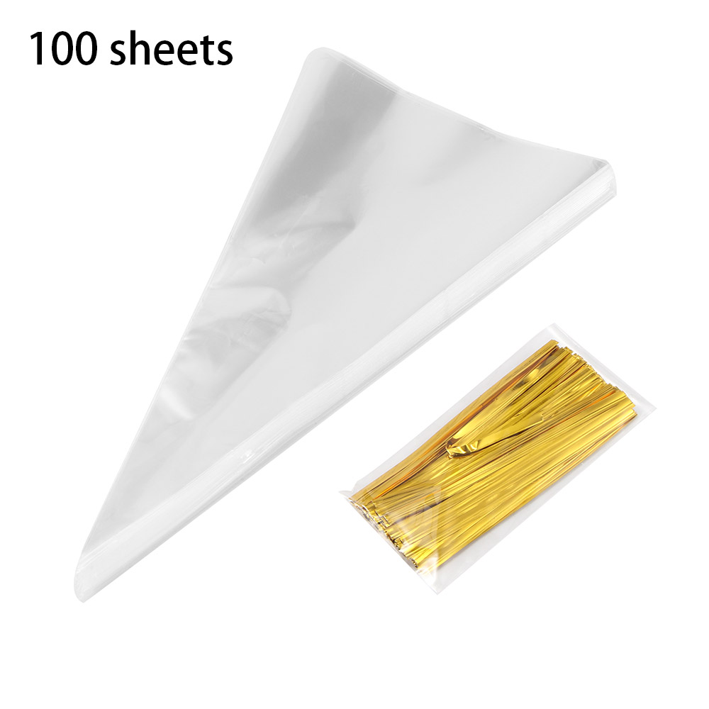 100pcs Cone Clear Sweet Chocolate Candy Cupcake Wrapper Birthday Party Favor Gifts Display Cellophane Cello Bags Decoration