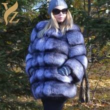 2020 Silver Fox futrzane płaszcze natura futra z lisa i kurtki płaszcz z prawdziwego futra dla kobiet odzież zimowa odpinany rękaw odzież tanie tanio YZ FURTURE Futro Futra lisa High Street Grube ciepłe futro Z fox fur collar Przycisk zadaszone REGULAR Pełna STANDARD