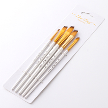 5Pcs White Painting Brushes Set Nylon Hair Artist Oil Painting Brush for Watercolor Acrylic Drawing School Student Art Supplies