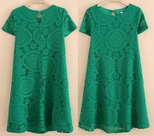 White/Red/Black/Green Lace Dress Women's Short Sleeve