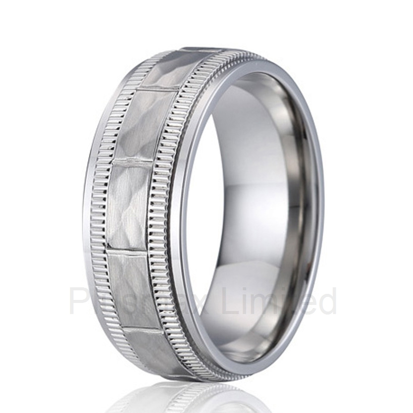 anel custom size hammered pattern pure titanium steel jewelry engagement ring wedding band for men
