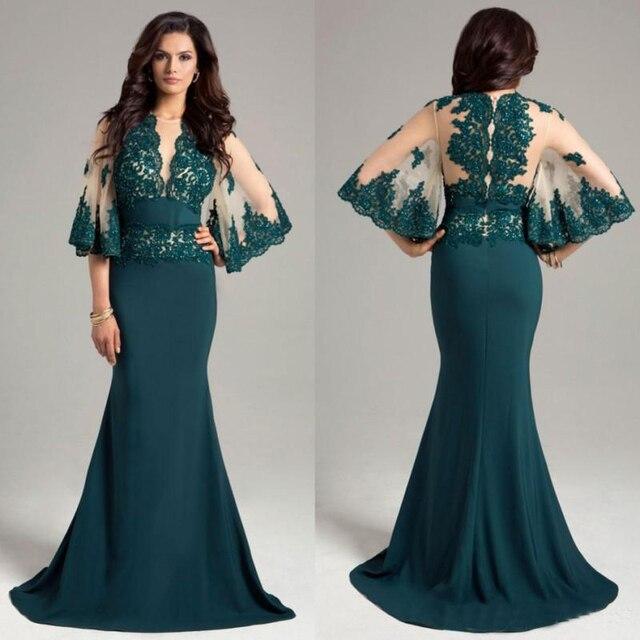 f3683d55e5 Hunter Zielone Sukienki Suknie Wieczorowe Sheer Neck Balu Długie Suknie  Mermaid Zroszony Piętro Długość Suknia Z