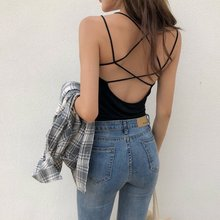 Sexy Backless Tank Tops Women Bandage Crop Top Cami Female Camisole Criss Cross Elasticity Slim Sleeveless Cropped Vest Bustier criss cross back crop cami top