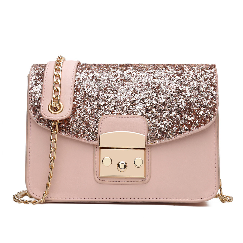 Shining Women Sequined Shoulder Bag Leather Womens Flap Bag Lay Crossbody Bags Chain Strap Small Female Shoulder Bag Pink Color