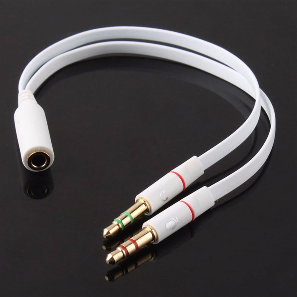 3.5mm Gold Plated Audio Mic Y Splitter Cable Headphone Adapter Female To 2 Male Cable for PC Laptop etc White купить
