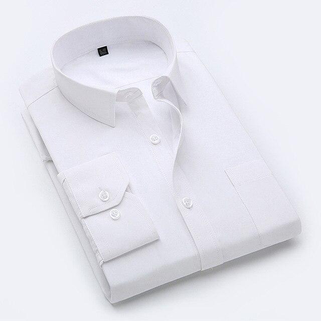 Новый 2017 мужская Бизнес Хлопка С Длинным Рукавом Платье Рубашка Бренд мужской Джинсовой Вниз Нагрудные Повседневная Рубашка