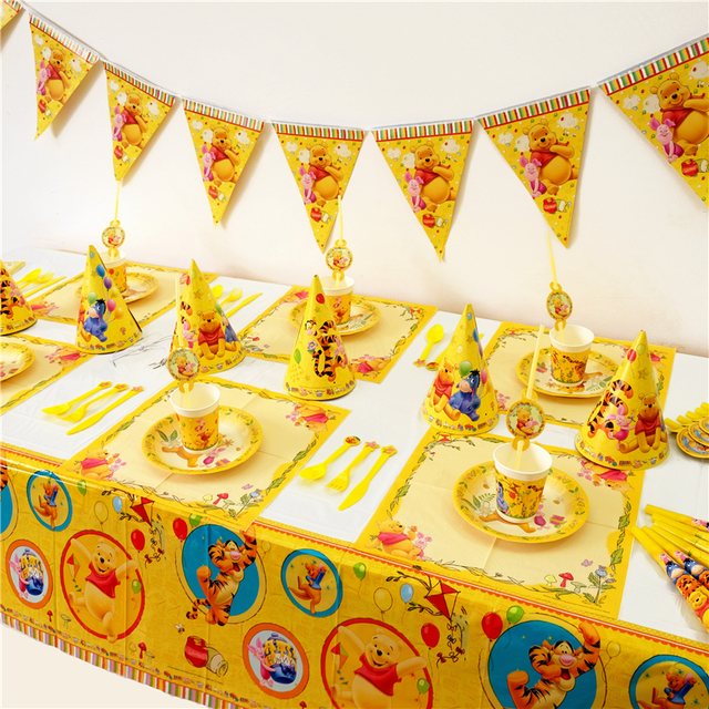 136 Disney Winnie Lourson Porcinet Tigrou Enfants Party Decoration Birthday Set Fêtes Fête Danniversaire De Bébé Pack événement
