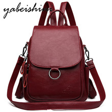 Ladies' first layer cowhide backpack Women's leather backpack Shoulder Bags Sac a Dos Female travel backpack school bag mochila