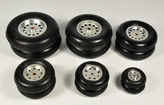 """1 Uds. Cubo de rueda de goma con modelo de avión de aluminio para RC y cubiertas de Robot DIY 1,75 """" 4,5"""""""