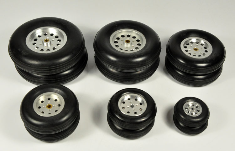 1PCS Rubber Wheel With Aluminum Hub For RC Airplane Model And DIY Robot Tires 1.75-4.5 image