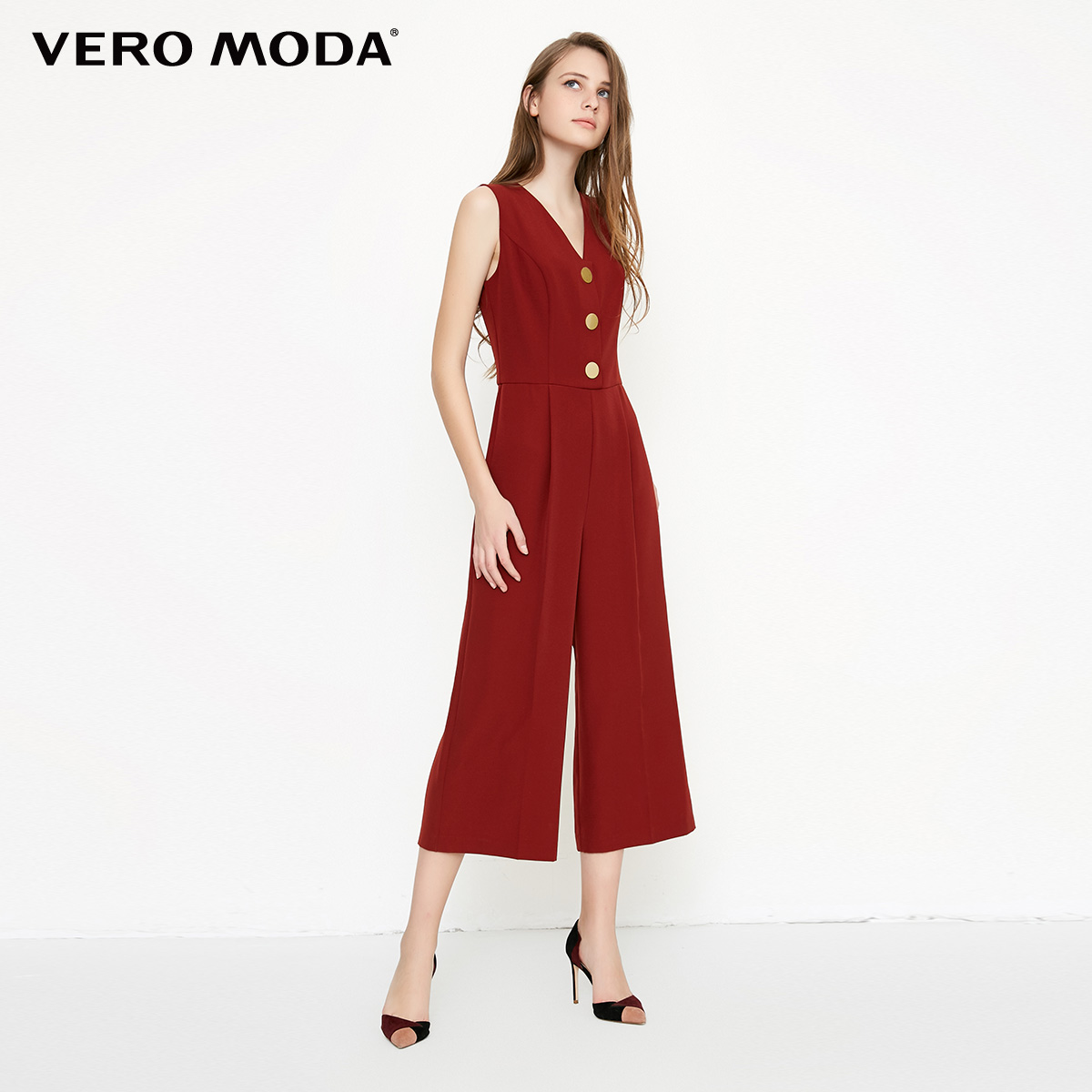 Vero Moda spring fashionable V-collar loose-leg cropped Jumpsuits for women |318144507 2