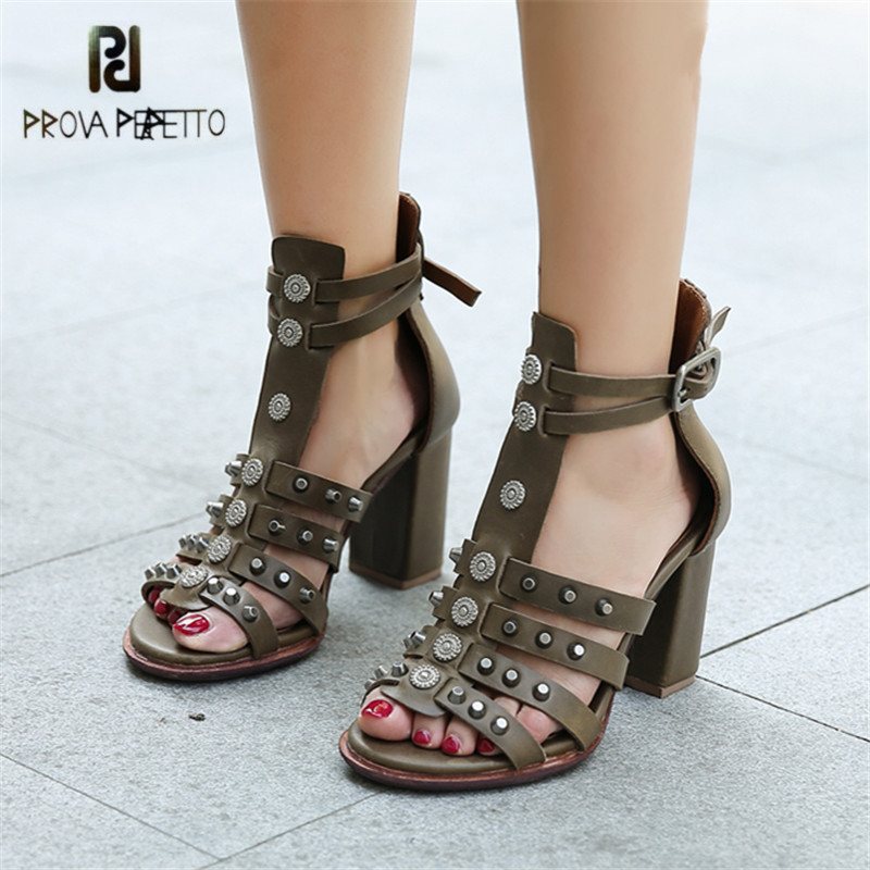 Prova Perfetto Rivets Studded Women Pumps Gladiator Sandals 8CM High Heel Shoes Woman Sexy Genuine Leather Sandalias Mujer prova perfetto rivets studded women gladiator sandals narrow band hollow chunky high heel women shoes real leather pumps sandals