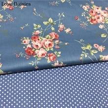 100% Cotton Twill DARK BLUE Pink Red Rose Flowers Floral Polka Dots Fabrics for DIY Bedding Apparel Dress Handwork Decor Textile
