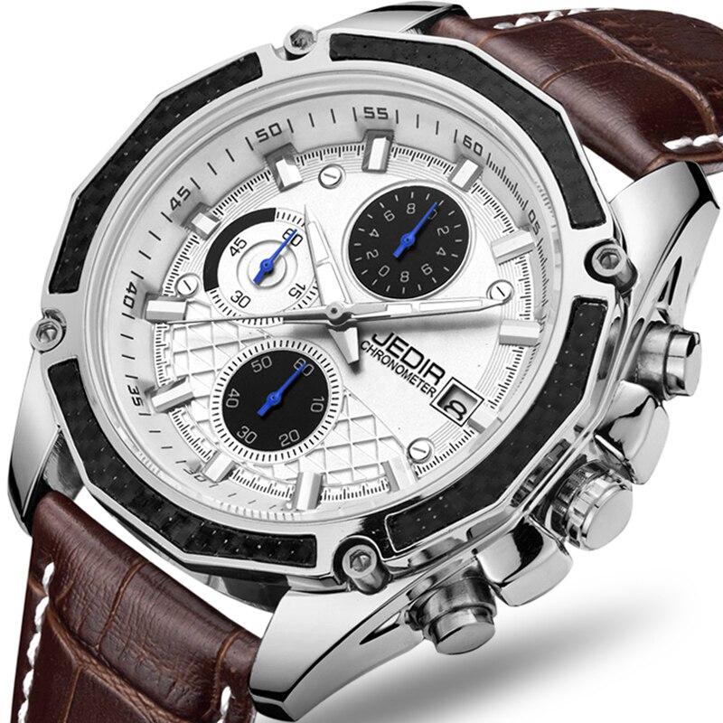 Véritable JEDIR quartz mâle montres Véritable En Cuir montres racing hommes Étudiants Course des Chronographe Montre mâle les mains lueur