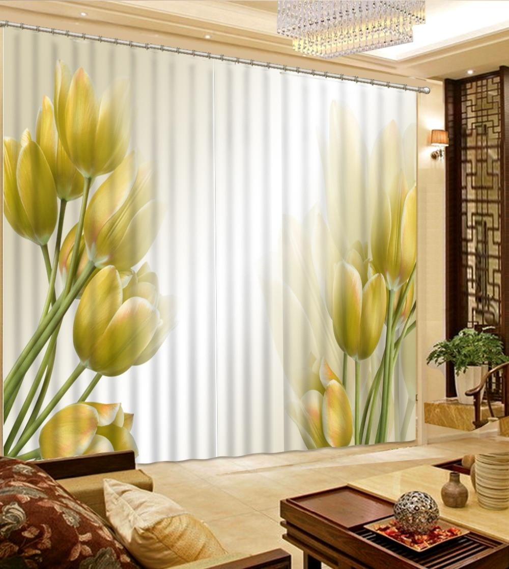 Yellow Elegant Flower Living Room Curtains Luxury 3D Window Curtain ...