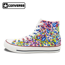 Unisex Sneakers Converse Men Women Colorful Leopard Print Hand Painted Canvas Shoes High Top All Star