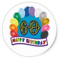 1.5inch 60th Happy Birthday Balloons Merchandise Classic Round Sticker