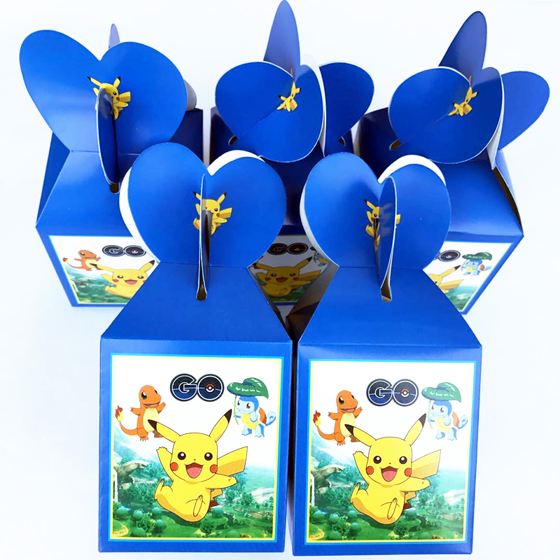 6pcs Pokemon Go Favor Containers Childrens Day/Christmas/Halloween Decoration Ideas Pikachu Party Candy Bags Birthday Supplies
