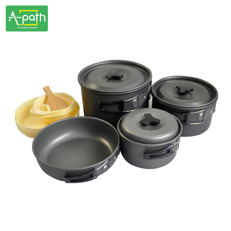 все цены на 5 - 6 person outdoor camping cooking  portable camping cookware set  alumina pot Frying Pan  picnic set онлайн