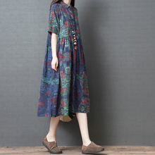 New Summer Print Loose Maxi Dress Plus Size Cotton Linen Pockets Floral Spring Dress Turn Down Collar Casual Large Size Dress