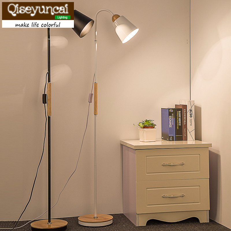 Qiseyuncai The creative personality of modern solid wood floor lamp simple living room bedroom study remote floor lamp