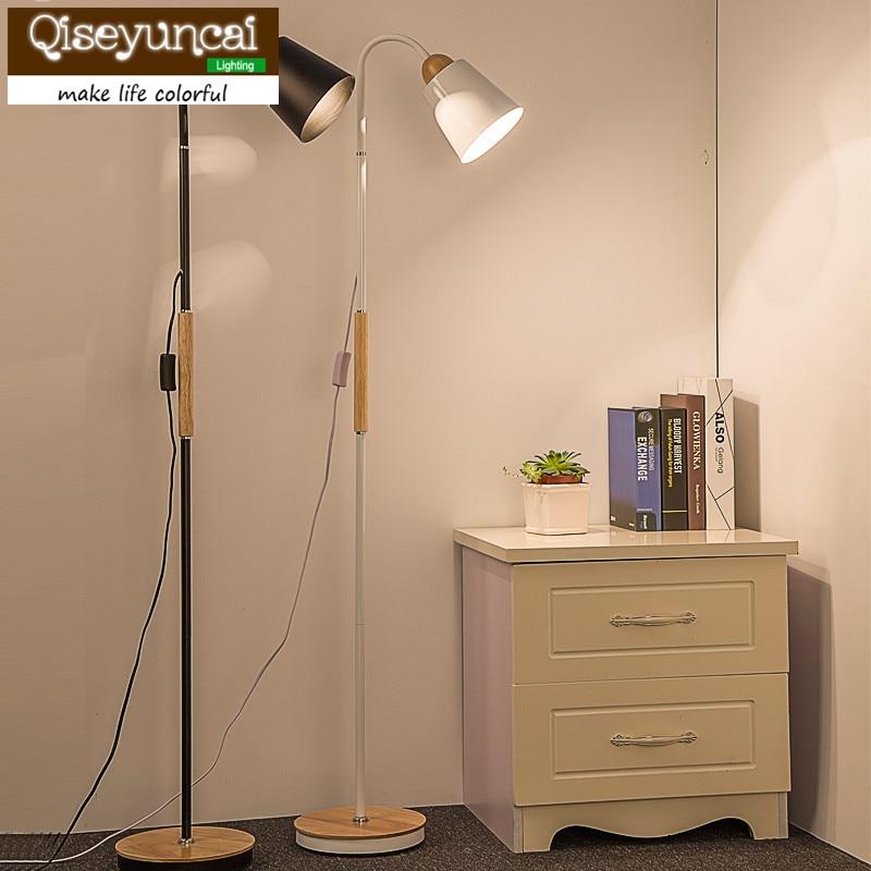 Qiseyuncai The creative personality of modern solid wood floor lamp simple living room bedroom study remote floor lamp