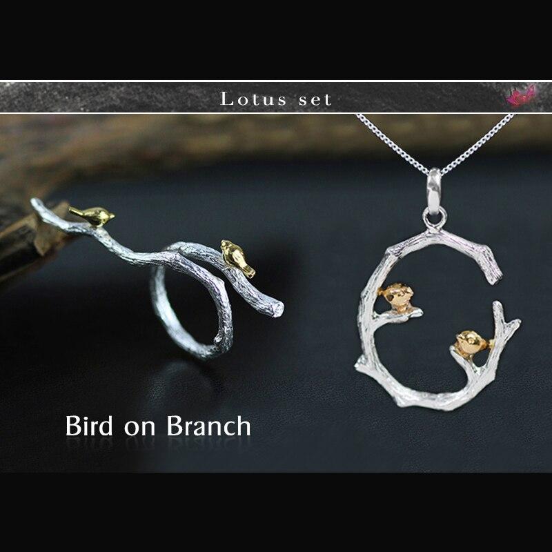 Lotus Fun реальные 925 серебро ручной работы Ювелирные украшения птица на ветке комплект ювелирных изделий с Открытое кольцо кулон Neckace