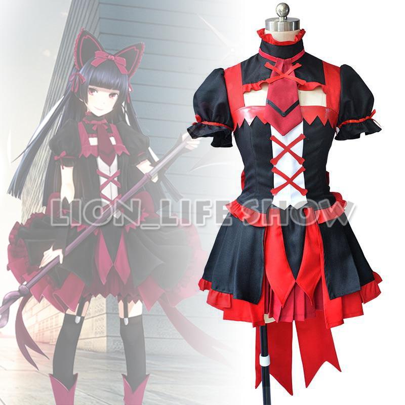 Porte: Jieitai Kanochi Nite Rory Mercury Cosplay Costumes rouge noir filles Lolita robe ensemble avec bas pour la fête d'halloween
