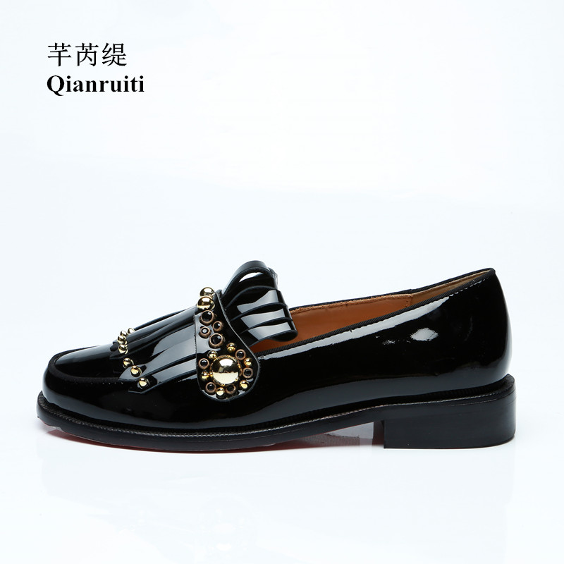 Qianruiti Men's Fringe Tassel Shoes Gold Studs Slip-on Loafers Patent Leather Shoes EU39-EU46 Customized color Men Casual Shoes qianruiti men alligator gold loafers metal toe business wedding oxfords high quality lace up slippers men dress shoe eu39 eu46