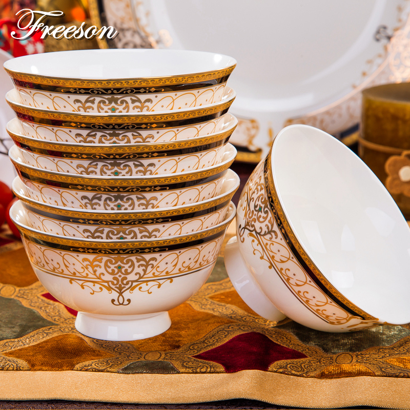 Europe Vienna Royal Bone China Rice Bowl Korean Noodle Bowl Lunch Box Ceramic Salad Tableware Food Container