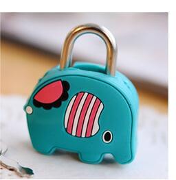 1X милый мультфильм Kawaii животные багажная сумка металлический замок журнал дневник пароль Блокировка файл держатель канцелярские принадлежности - Цвет: elephant