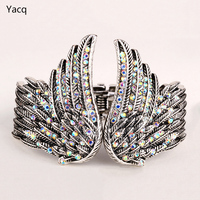 Angel Wings Bracelet W Silver Crystal Biker Fashion Jewelry For Women Matching Ring Earrings Brooch Pendant