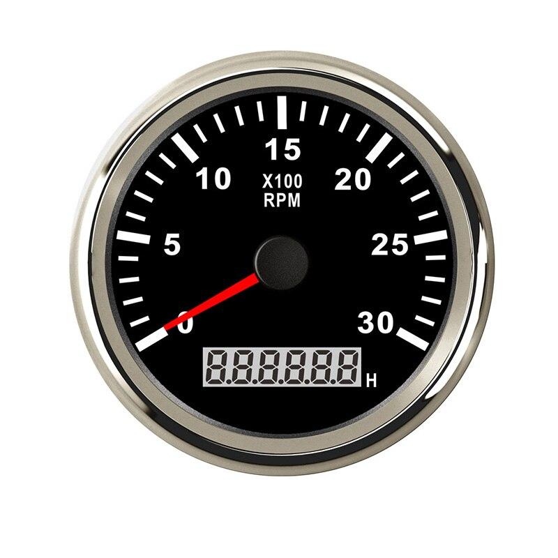 Indicateur de tachymètre de compte-tours de 85mm 0-3000 tr/min indicateur de tachymètre Diesel pour bateau à moteur de voiture avec lumière noire rouge 9-32 V