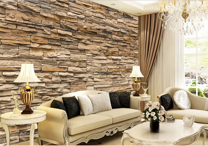 size 3d three dimensional personality living room wallpaper tv
