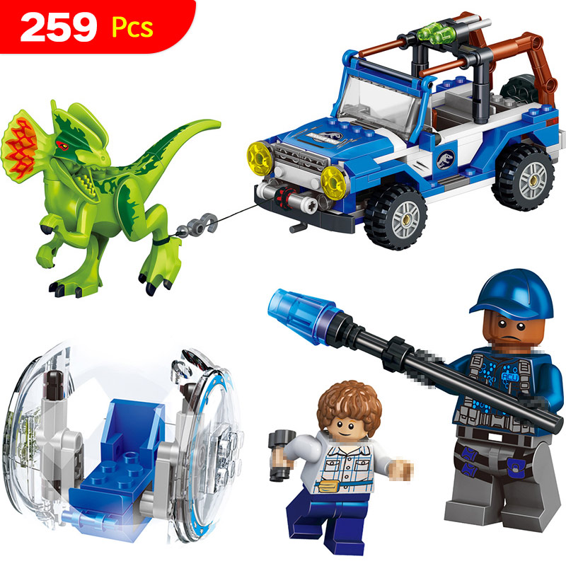 259 PCS Jurassic World Dinosaur with Chariot Soldier Meccano Building Blocks Sets Compatible LegoINGlys Educational Bricks Toys 2 sets jurassic world tyrannosaurus building blocks jurrassic dinosaur figures bricks compatible legoinglys zoo toy for kids