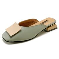 2019 элегантные кожаные шлёпанцы женские сабо обувь дамы Тапочки низкий каблук открытый шлёпанцы для женщин направляющие летние сандалии ...