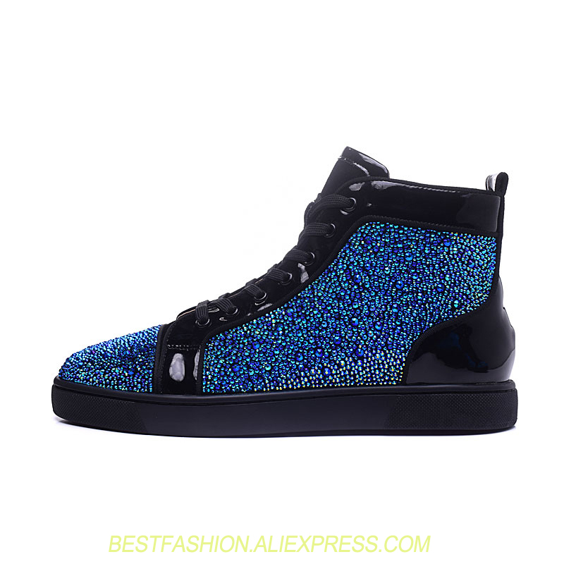 Handmade Genuine Leather Blue Glitter High Top Shoes Mens Red Bottom Casual Lace Up Flats Men Designer Shoes For Male Sneakers hanbaidi luxury handmade string beads mens sneakers runway genuine leather white low top mens casual shoes round toe flats men