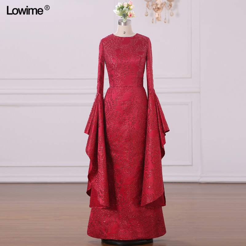 Real Photo Muslim Arabic Evening Dresses Scoop Red Custom Made Appliques Sequins Robe De Soiree Long Prom 2018