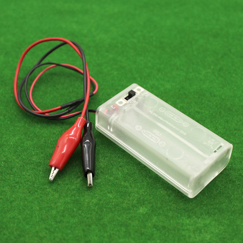 3V Battery Holder Storage Case Box 2 x AA Batteries with Alligator Clips Transparent Power Battery Holder with Switch & Cover