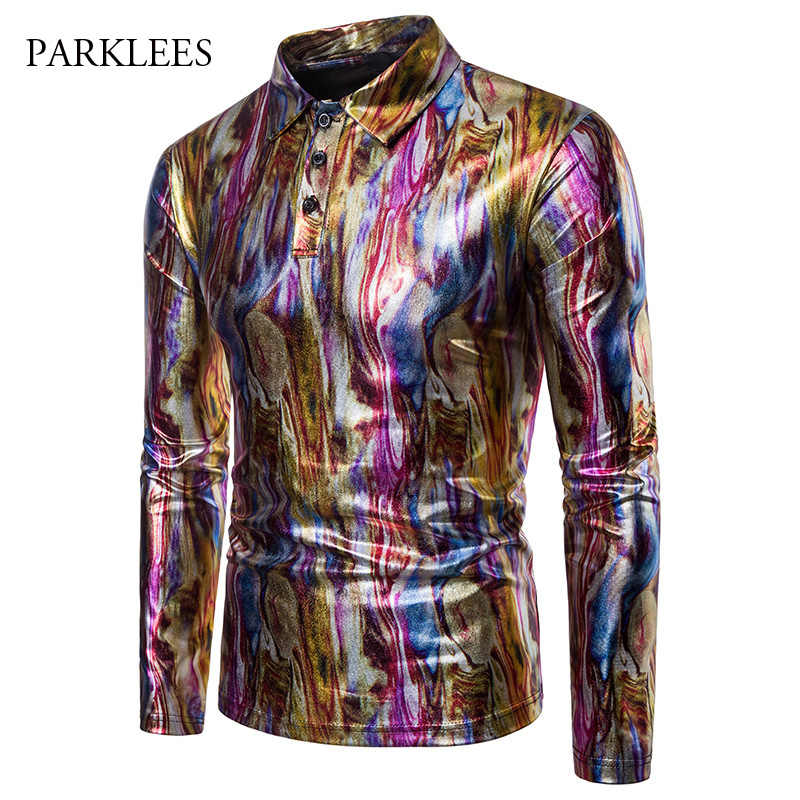 6dc8819f94b2c1 Shiny Metallic Men Shirt Glitter Bronzing Multicolor Camouflage Pullover Mens  Shirts Nightclub Party Stage Show Camisa