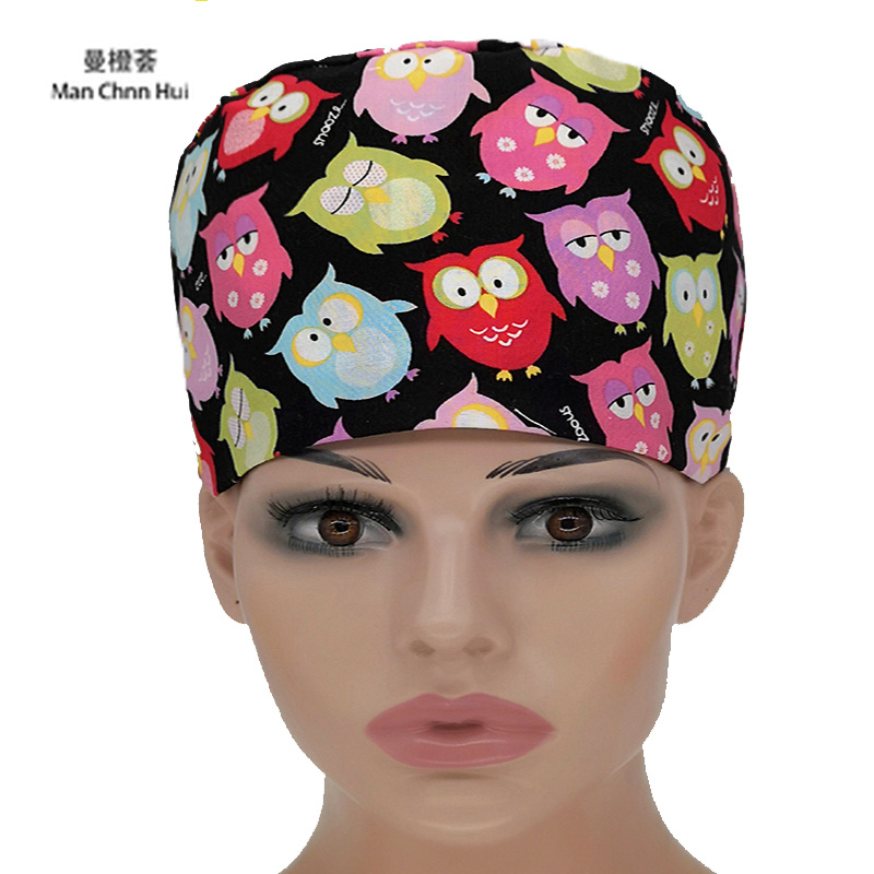 Surgical Caps Medical Nursing Hats Chemo Cancer Healthcare Work For Women And Men Pink Ribbon Calico Black Versatile Scrub Hats