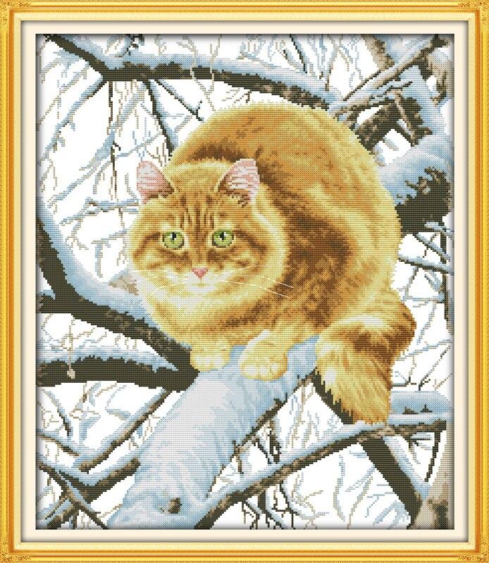 나무에 뚱뚱한 고양이 계산 십자가 스티치 수제 11CT 14CT DMC 크로스 스티치 세트 DIY 크로스 스티치 키트 자수 바느질 작업