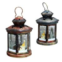 Vintage Christmas Candlestick Candle Holder Lanterns Christmas Tree Ornaments Xmas Wall Hanging Pendant New Year Party
