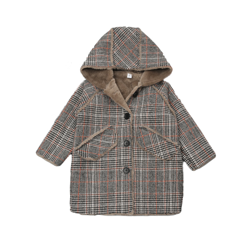 Baby Girl Striped Wool Overcoat New Fashion Girl Wool Coat Warmth Winter Clothes Kids Faux Fur Coat For Girl Coat 2018 new fashion baby boy s coat middle length baby wool cotton padded jacket faux fur coat children winter clothes
